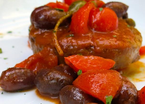 Scaloppina vegana di Seitan con salsa mediterranea